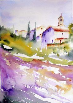 Lavandes 02 (Painting),  20x30 cm by Véronique Piaser-Moyen Aquarelle originale sur papier 300G
