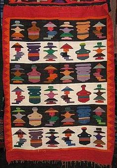 Hand-weaved colorful rug from Peru, peruvian folklore costumes