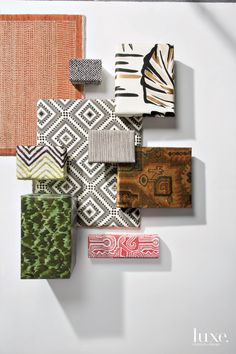 #luxelikes: Clockwise from top left: Orley Shabahang / Pollack / Fromental / Martyn Lawrence Bullard / Kelly Wearstler Terra Firma Textiles for Groundworks / Oscar de la Renta II Collection for Lee Jofa / Adrienne Neff for Holland & Sherry / Celerie Kemble III Collection for Schumacher / Michael Berman for Kravet