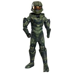 This costume includes a jumpsuit with attached boot tops harness gloves and a helmet. This is an officially licensed Halo costume. Kids' Halo Prestige Master Chief Halloween Costume S Boy's Green Master Chief Halloween, Master Chief Costume, Theme Halloween, Boy Costumes, Halloween Costumes For Kids, Halloween Season, Halloween Stuff, Costume Ideas, Halo Master Chief