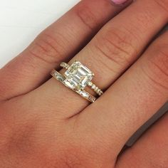 Swooning over this yellow gold duo!!  #emeraldcut #diamond #delicate #beautiful #love #beautiful #frenchcut #singlestonela #engagementring