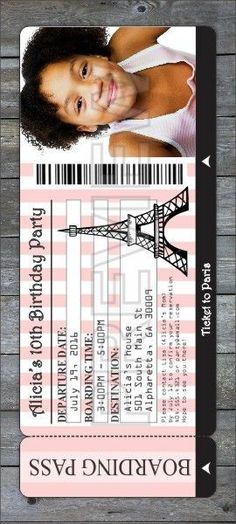 Paris Boarding Pass Party Photo Invitation from personalizedpartyinvites.com...Ohh lala! This invite is die cut in the shape of a boarding pass! Perfect for Paris theme birthday parties, baby showers, and bridal showers. Design it online!