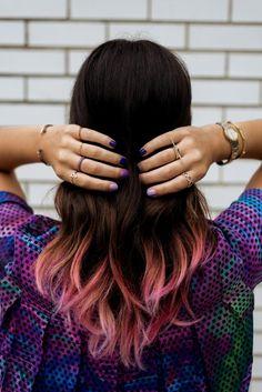 Dip dye hair in pink