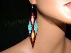 "Native American Beautiful ""Indian Star""  Beaded Earrings"