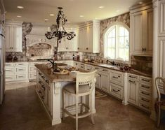 Brown Marble Tile Flooring For French Country Style Kitchen Design ...
