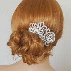 Wedding Hair Accessories, Bridal Hair Comb, Crystal Rhinestone Hairpiece, Silver Rose Flower Hair Comb, Vintage Style Hair Jewelry, ROSEANN