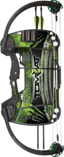 "Featuring durable compound limbs and riser, the Barnett Tomcat compound bow is perfect for the beginning archer.  The Tomcat features an adjustable 60 - 70% let-off and has an adjustable 20 - 22'' draw length as well as an adjustable draw weight from 17 - 22 lbs. This bow comes equipped with a 3-pin fiber optic ""Brightglo"" sight, Arrow Rest, Quiver with 2 Arrows and soft touch finger rollers."