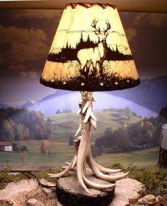 Rustic Deer Antler Lamp & Deer Shade Rustic Cabin, Hunting,Game Room Deer Antler Lamps, Antler Art, Deer Antlers, Antler Lights, Antler Crafts, Deer Skulls, Rustic Table, Rustic Decor, Rustic Design
