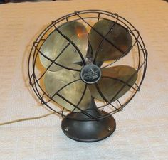 Vintage 1940's Emerson Electric Oscillating Fan Brass Blades Type 6250-F