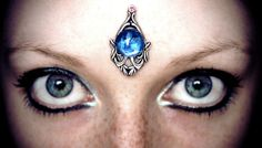 Clear Waters Bindi, goddess, forehead jewelry, blue cabochon, silver, fantasy costume, tribal fusion, bellydance, festival, wicca, fairy