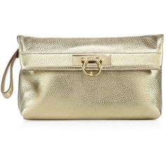 Salvatore Ferragamo May Fold-Over Metallic Leather Clutch (5,060 ILS) ❤ liked on Polyvore featuring bags, handbags, clutches, apparel & accessories, gold, fold over purse, genuine leather purse, pocket purse, brown leather purse and metallic clutches