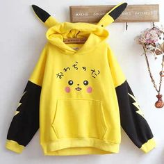 Cute Pikachu Hoodie Yellow Things f yellow hoodie Anime Inspired Outfits, Teen Fashion Outfits, Emo Outfits, Fashion Dresses, Tomboy Outfits, Summer Outfits, Crop Top Hoodie, Sweater Hoodie, Cute Hoodie
