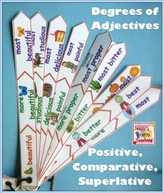 Degrees of Adjective Fans - Positive, Comparative and Superlative plus worksheets #ela $ #adjectives #grammar | Learn English. http://www.learningenglish.uk.com