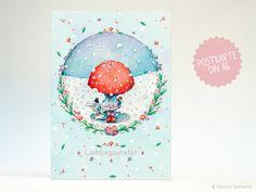 Winter - Postkarte | Lieblingswinter - ein Designerstück von Illusine bei DaWanda