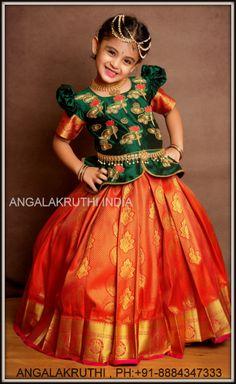 Kanchipuram silk pavadai designs by Angalakruthi india Girls Frock Design, Kids Frocks Design, Kids Lehanga Design, Kids Dress Wear, Kids Gown, Wedding Dresses For Girls, Dresses Kids Girl, Kids Lehenga Choli, Kids Saree