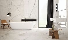 Bathroom Inspiration: Sneak peek Bathroom with porcelain marble-effect floors and walls and plywood stools - Marble Bathroom Dreams Bathroom Niche, Bathroom Goals, Bathroom Wallpaper, Bathroom Marble, Family Bathroom, Master Bathrooms, Dream Bathrooms, Bathroom Cabinets, Terrazzo Tile