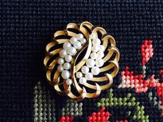 Vintage Crown Trifari Brooch with Faux Pearls by VintageVixens1 on Etsy