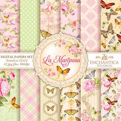 Papel Digital Mariposas, Mariposas Papel Digital, Butterfly Digital Papers, Digital Papers Butterfly, Patterns Scrapbooking, Floral Papers