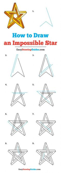 How to Draw an Impossible Star – Really Easy Drawing Tutorial - Moyiki Sites Easy Drawing Tutorial, Easy Drawing Steps, Step By Step Drawing, 3d Art Drawing, Drawing Stars, Drawing Lips, Drawing Ideas, Pencil Drawings For Beginners, Drawing Tutorials For Beginners