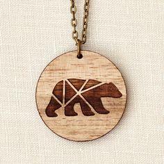 Bear Geometric Wood Necklace laser cut por adaandcedar en Etsy