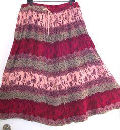VTG GAUZY BOHO Chic HIPPIE InDiE Peasant Gypsy Skirt L Crinkle Broomstick Rayon , $29