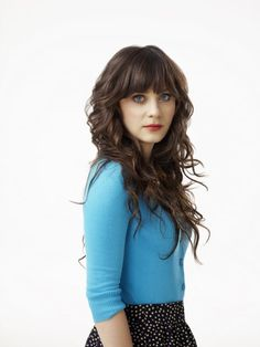 Zooey Deschanel hair--I've really been wanting to try this but not sure how it would go with my face shape..