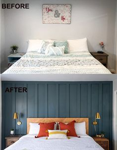 All the tips you need to know to easily and quickly painting a DIY board and batten wall. Plus see how else I transformed my master bedroom. Accent Wall Bedroom, Bedroom Decor, Accent Walls, Bedroom Ideas, Wall Decor, Painted Wood Walls, Master Bedroom Makeover, Board And Batten, Textured Walls