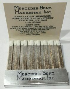 Mercedes Benz Manhattan NYC Matchbook Auto Car Dealership Silver Unused Unstruck #MercedesBenz