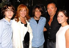 "Sam Ryan Springsteen, Patti Scialfa, Evan James Springsteen, Bruce Springsteen and Jessica Rae Springsteen pose backstage at ""Spring Awakening"" on August 8, 2008 in New York City."