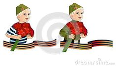 Two variants of boy with carnations for the Victory Day illustrations