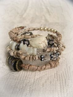 Handmade Gypsy Bangle Bracelet Stack Wire Wrapped Boho by QueenBe