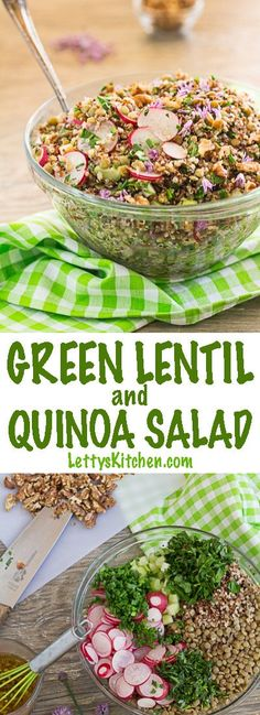 French Green Lentil and Quinoa Salad with fresh parsley and tarragon, chives, and walnuts. This gluten free vegan salad adapts to whatever vegetables and herbs you have on hand. Garlic scapes are a fun addition! via @lettyskitchen
