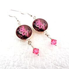Browning Buck Earrings, Pink Camo Earrings,  Swarovski Crystals,  Rustic Wedding Bridesmaid Gift Under 20 on Etsy, $14.75