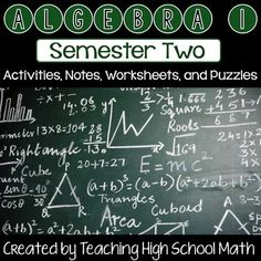 In this bundle you will find all items from my Teachers Pay Teachers store that are in the Second Semester of a High School Algebra One course. I am defining Semester Two as:ExponentsFactoringQuadratic EquationsRadicalsRational ExpressionsIf you would like to see specifically what is in this bundle, you can click on any of the links below to see specifically what you will be getting:1) Working with Exponents Maze2) Working with Exponents Winter Puzzle3) Factoring - Valentine - Find My…