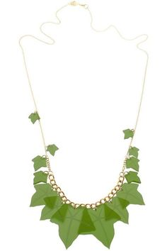 Ivy Leaves Long green Necklace Lazer Cut, Tatty Devine, Ivy Leaf, Green Necklace, Pearls, Diamond, Flowers, Finders Keepers, Accessories