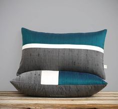 Deep Teal Silk Horizon Line Pillow Cover with Cream and Charcoal Gray Stripes by JillianReneDecor, Luxury Gift for Her, Lagoon Lumbar Pillow Diy Pillows, Decorative Pillows, Throw Pillows, Cushion Covers, Pillow Covers, Luxury Gifts For Her, Silk Pillow, Lumbar Pillow, Leather Pillow