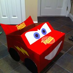 Lightning McQueen box car. I made this for my son. He loves everything to do with the movie Cars!