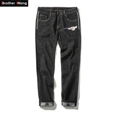 Fair price Brothers wang high-end men's jeans Chinese style embroidery stretch jeans big size 42 44 46 men casual jeans brand men clothing just only $28.00 with free shipping worldwide  #jeansformen Plese click on picture to see our special price for you