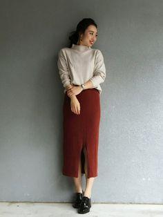 miniii◡̈︎♡さんの「WOMEN メリノブレンドリブスカート(ユニクロ)」を使ったコーディネート