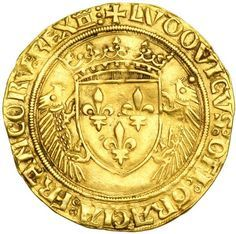 Goldberg Auctioneers / February Pre-Long Beach ( - / World Gold / Lot France. Ecu d'or au porcepic, ND. NGC EF Louis XII, Crowned arms flanked by two porcupines. Bullion Coins, Gold Bullion, Medieval, French Coins, Gold Coins, Arms, Auction, Stamp, Antiques