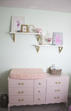 Family Heirloom Dresser Refinished in Pink for a Baby Girl Nursery - super sweet!