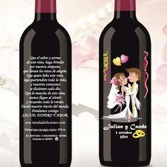 vino personalizado regalos de boda para hombre precio económico 2,60 €  Vino de 375ml personalizado directamente al vidrio.