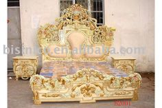 European classical& antique wooden luxury bedroom set, king size bed, dresser, with gold plated,hand carving / China Beds for sale Luxury Bedroom Sets, King Bedroom Sets, Luxurious Bedrooms, Luxury Bedding, Bedroom Eyes, Modern Bedding, Master Bedroom, Egyptian Furniture, European Furniture