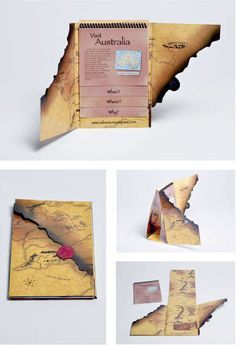 This type of brochure was intended for a travel agency that books exclusive tours around the world. This is a very creative way of portrayi. Design Blog, Map Design, Layout Design, Print Design, Design Posters, Poster Designs, Brochure Indesign, Brochure Layout, Brochure Ideas