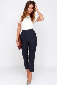 Trouser/ Navy Blue High-Waisted Pants