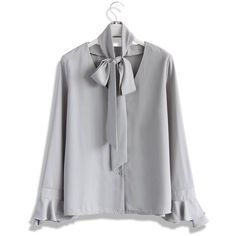 Chicwish All Time Favor Tie-neck Top in Grey ($42) ❤ liked on Polyvore featuring tops, blouses, grey, gray blouse, lacy tops, necktie blouse, lacy blouses and grey top