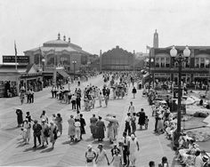 the boardwalk looking the casino, Asbury Park, New Jersey 1920s Photos, Old Photos, Asbury Park Boardwalk, British Seaside, East Coast, Great Places, Dolores Park, Ocean, Travel