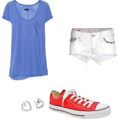 comfy fourth of july outfit... But star earrings instead of hearts! ~j9