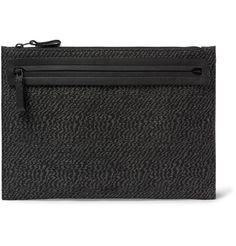 Leather-Trimmed Linen-Blend Pouch   MR PORTER