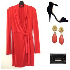 """Victoria Secret Coral Faux-Wrap Dress  Details c/o polyvore: """"Slinky and slim-fitting, this faux-wrap dress is the quintessential day-to-date style. Bodycon style. Lightweight and drapey. Slinky and smooth matte jersey. 17"""" from waist. Hits above knee. Machine wash. Lay flat to dry. Imported polyester/elastane.""""  In excellent used condition. Worn 1-2x.  Victoria's Secret Dresses Long Sleeve"""